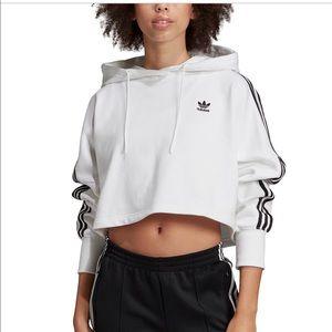 Adidas Originals Trefoil Hooded Cropped Sweatshirt